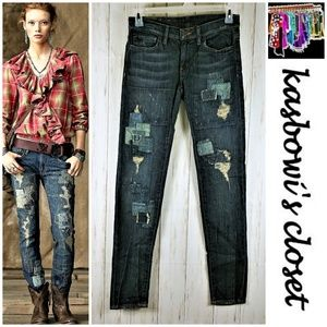 RALPH LAUREN Destroyed/Patched Skinny Jeans 27/32